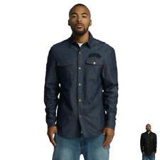 Bequem sitzende unifarbene Herren-Freizeithemden & -Shirts-Denim