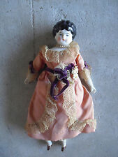 "Antique 1890s Germany China Head and Shoulders Bisque Cloth Girl Doll 9"" Tall"