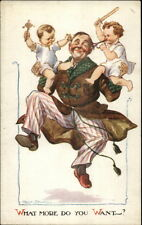 Fred Spurgin - Happy Dad Father & His Wild Playful Boys Kids Postcard c1915