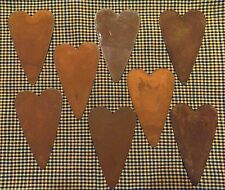 8 pieces of 4 Inch Rusty flat metal Heart Crafts Primitive