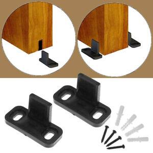 2Pc Cilps Sliding Barn Door Hardware Wall Bottom Floor Roller Guide Clip+ Screws
