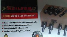 NEILSEN 8 PC WOOD PLUG CUTTER / CUTTING SET CUTTING TOOLS 9.5mm SHANK,