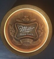 Vintage Miller High Life Fine Beer Lighted Faux Barrel Sign Bar Pub Man Cave