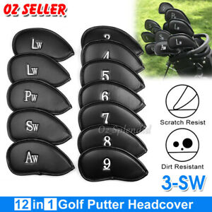 12x Golf Club Iron Head Covers Set PU Leather Putter Universal Headcover Protect
