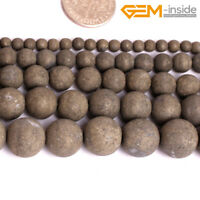 "Natural Frosted Matte Pyrite Round Stone Spacer Beads For Jewellery Making 15""CA"