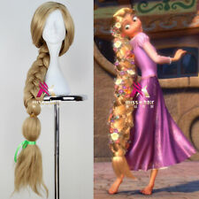 Tangled Princess Rapunzel Wig Long Blonde Braid Anime Cosplay Wig for Halloween