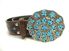 """SOUTHWESTERN 44"""" LEATHER BELT W/TURQUOISE ACCENTS SILVER TONE METAL BELT BUCKLE"""