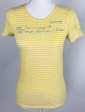 J Crew Juniors Shirt Small Striped Yellow White Boat House Short Sleeve Cotton