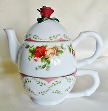 Royal Albert Old Country Roses Tea for One~Teapot~Cup~Red Rose Finial