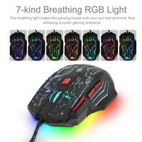 Wired Optical USB Gaming Mouse RGB Light Mice 5500DPI 7 Keys for Laptop Desktop