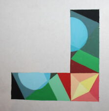 ABSTRACT CUBIST SUPREMATIST COMPOSITION VINTAGE GOUACHE PAINTING
