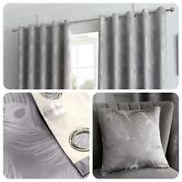 Curtina FEATHER Silver Metallic Jacquard Woven Eyelet Curtains & Cushions
