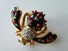 JOAN RIVERS CHERRY BEE Brooch pin Crystals Enamel