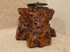 ANTIQUE ASHLAND WI BURL WOOD TREE TRUNK SOUVENIR INKWELL MOP COVER GLASS WELL