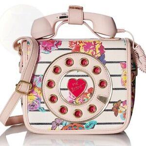 Betsey Johnson Phone Telephone Bag Kitsch Call Me PINK FLORALShoulder Crossbody