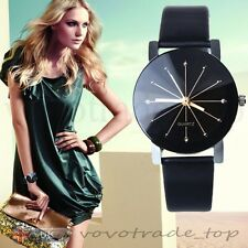 US Luxury Fashion Women Ladies Watch Stainless Steel Faux Leather Wrist Watches