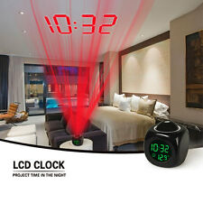 Alarm Clock Multifunction Digital Voice Talking LED Projection LCD Temperature