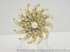 Faux Pearl and Antiqued Goldtone Flower Brooch