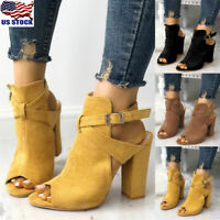 Womens Chunky Block High Heel Sandals Ladies Peep Toe Ankle Boots Shoes Size US