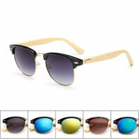 Sport Wooden Bamboo Sunglasses Aviator UV Vintage Wood Retro Ladies Glass