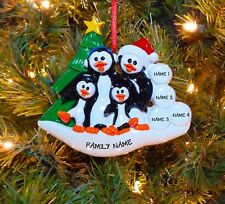Penguin Family Of 4 Personalized Christmas Tree Ornament
