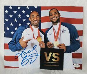 Kobe Bryant & Lebron James Auto Signed 2008 team USA Gold Medal 8x10 Photo COA