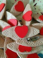 JOB LOT 200 HANDMADE WOODEN RED HEART BROOCHES - wedding party favours ETC