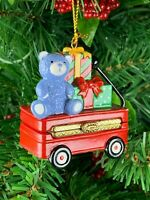 Teddy Bear Red Wagon w Presents Porcelain Hinged Trinket Box Christmas Ornament