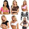 Women Sexy Mesh Sheer Transparent Tank Top Vest Blouse Crop Top Shirt Cami Top