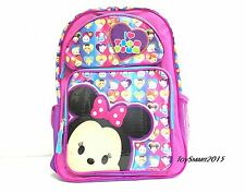"New Arrival Disney I Love Tsum Tsum Large 16"" Canvas Pink School Backpack"
