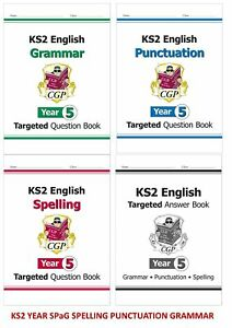 KS2 YEAR 5 AGES 9-10 ENGLISH SPELLING PUNCTUATION & GRAMMAR 4 BOOK BUNDLE
