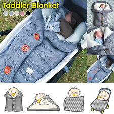 Newborn Baby Hooded Swaddle Knit Wrap Blanket Sleeping Bag Pushchair