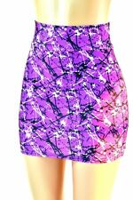 MEDIUM Purple Splatter Paint Spandex Bodycon Mini Skirt Clubwear Ready to Ship!