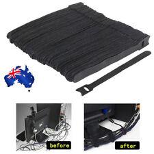 50x Reusable Nylon Cable Tie Hook Loop Strap Cord Ties PC Tidy Organiser Black