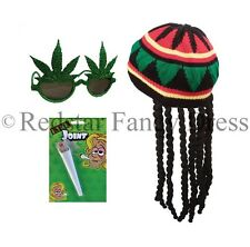 ADULT JAMAICAN RASTA HAT + GLASSES + SPLIFF BOB MARLEY FANCY DRESS JAMAICA