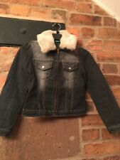 Benetton Girls Denim Jacket Detachable Collar Age 8 Years Excellent Condition