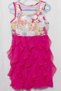 JUSTICE Girls 6 Sleeveless Dress Pink Floral Tiered Ruffles Sparkles