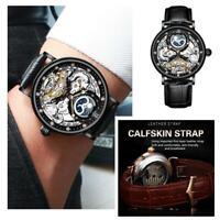 Herren Dual Time Leder Luxus Skelett Automatik Mechanische Uhr Y0A4