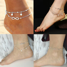 UK Women Ankle Bracelet 925 Sterling Silver Anklet Foot Chain Boho Beach Beads