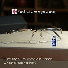 Pure Titanium Eyeglasses Frame half rimless mens original new gold RX eyewear