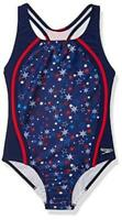 Speedo Girl's Swimsuit One Piece Thick Strap, Red/White/Blue Splice, Size 16 q5B