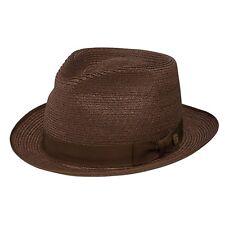 37b83184f1d Stetson Inwood Brown Hemp Straw Hat Fedora Size 7 1 8 R Oval 1 3