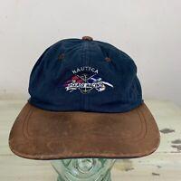 NAUTICA: Vtg 90s Baby Blue Leather Bill J Class Racing Sailing Strapback Dad Hat