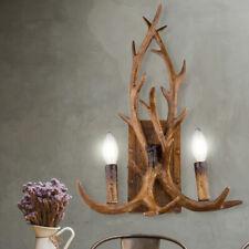 Landhaus Stil Wand Leuchte Holz Design Hirsch Geweih Ess Zimmer Flur Big Light
