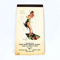 1954 Vintage Pin up Advertising Calendar Puget Sound District Council Lumber