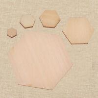 Unfinished Wood Hexagon Shape Plain Model Home DIY Decoration Accessories 1 Set