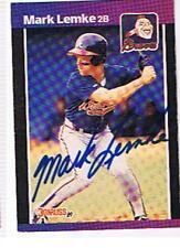 1989 DONRUSS # 523 MARK LEMKE  AUTOGRAPHED  CARD , BRAVES.