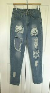 Boohoo High Waisted Jeans Ripped Destroyed Distressed Ruined Faded Blue UK 8