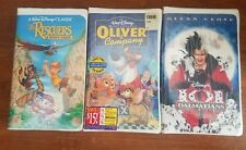 3 DISNEY VHS FACTORY SEALED The Rescuers Down Under, Oliver and Company, 101 Dal