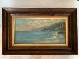 Antique Original Oil Painting A. De Leftwich Dodge Vintimille Italy 1922 Seaside